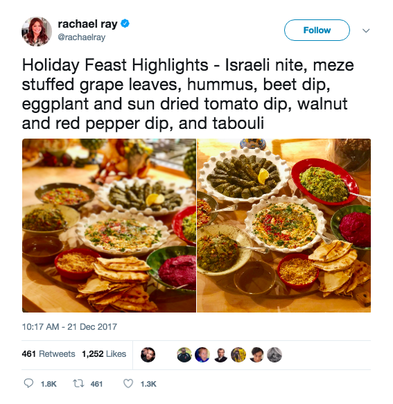 Rachael Ray's recent tweet about an Israeli-themed meal, which incensed Democratic Party official James Zogby. Credit: Twitter.