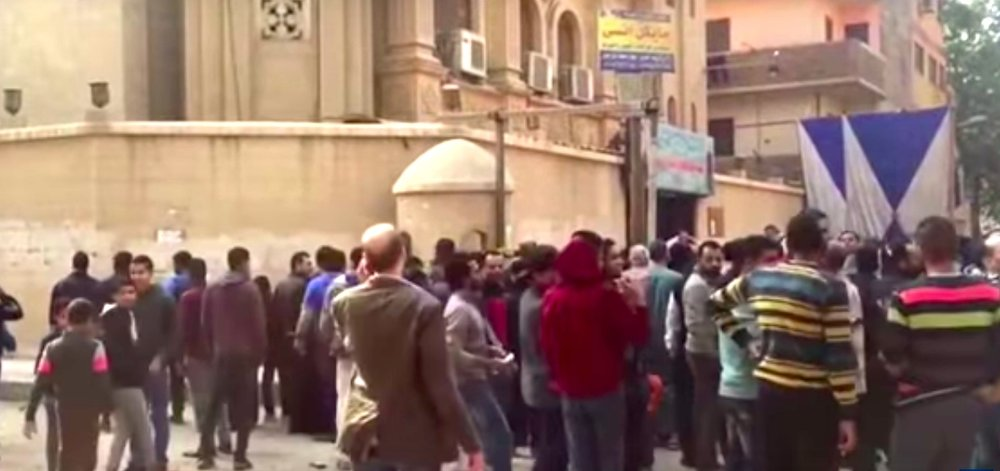 The scene after Friday's terror attack on a Coptic Christian church and market in Egypt. Credit: YouTube.