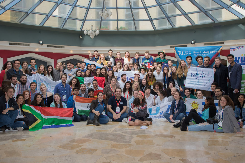 Student leaders from around the world at the recent 44th World Union of Jewish Students (WUJS) congress in Jerusalem. Credit: WUJS.