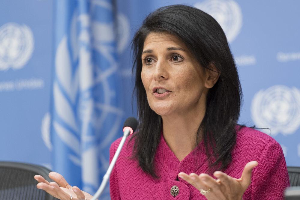 U.S. Ambassador to the U.N. Nikki Haley addresses reporters on April 3, 2017. Credit: U.N. Photo/Mark Garten.