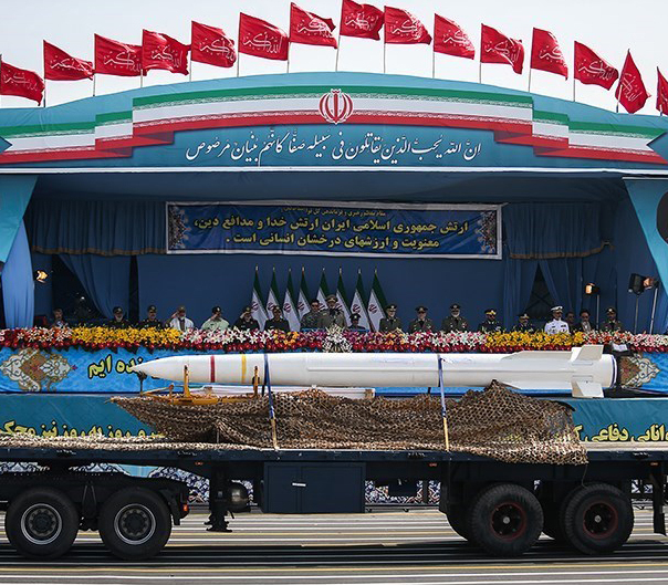 "A Bavar-373 Iranian long-range mobile air defense system is displayed during Iran's ""Army Day"" in 2015. Credit: Tasnim News Agency via Wikimedia Commons."