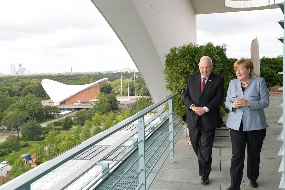 Israeli President Reuven Rivlin with German Chancellor Angela Merkel in Berlin last September. Credit: GPO.