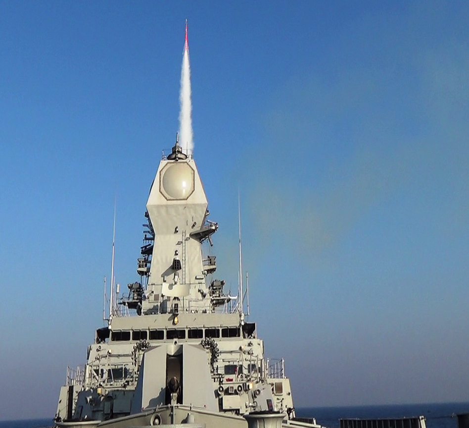 An INS Kolkata ship of the Indian Navy fires an Israeli-produced Barak 8 long-range surface-to-air missile on Dec. 30, 2015. Credit: Indian Navy via Wikimedia Commons.