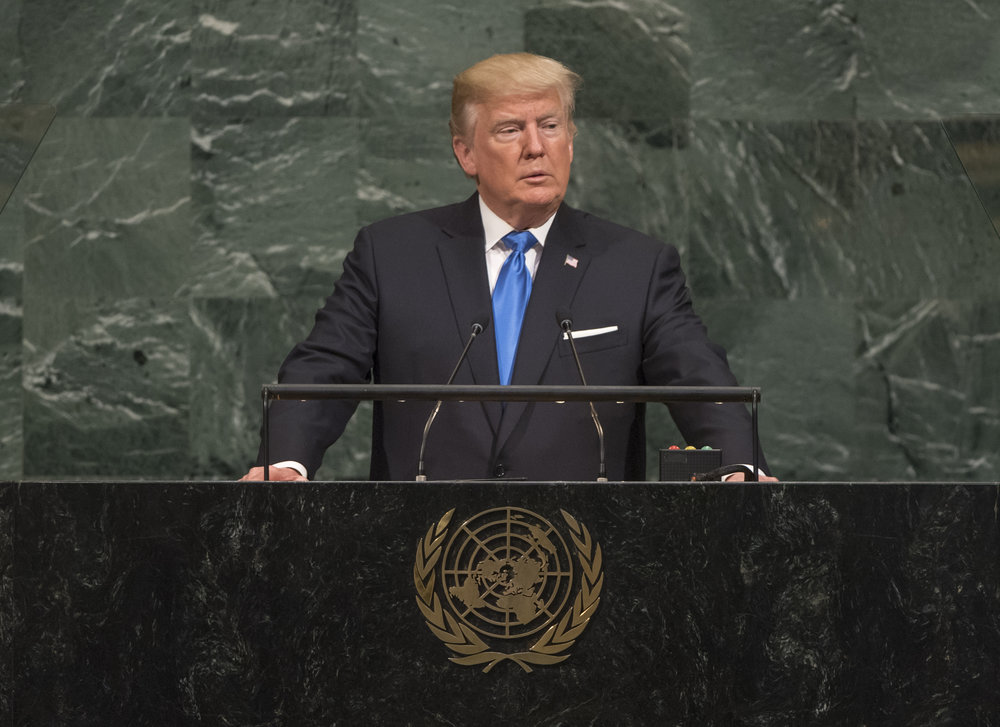 President Donald Trump addresses the United Nations General Assembly on Sept. 19, 2017. Credit: U.N. Photo/Cia Pak.
