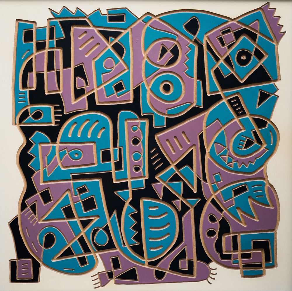 The way it should be, enamel and carving on board, 120x120cm, SOLD