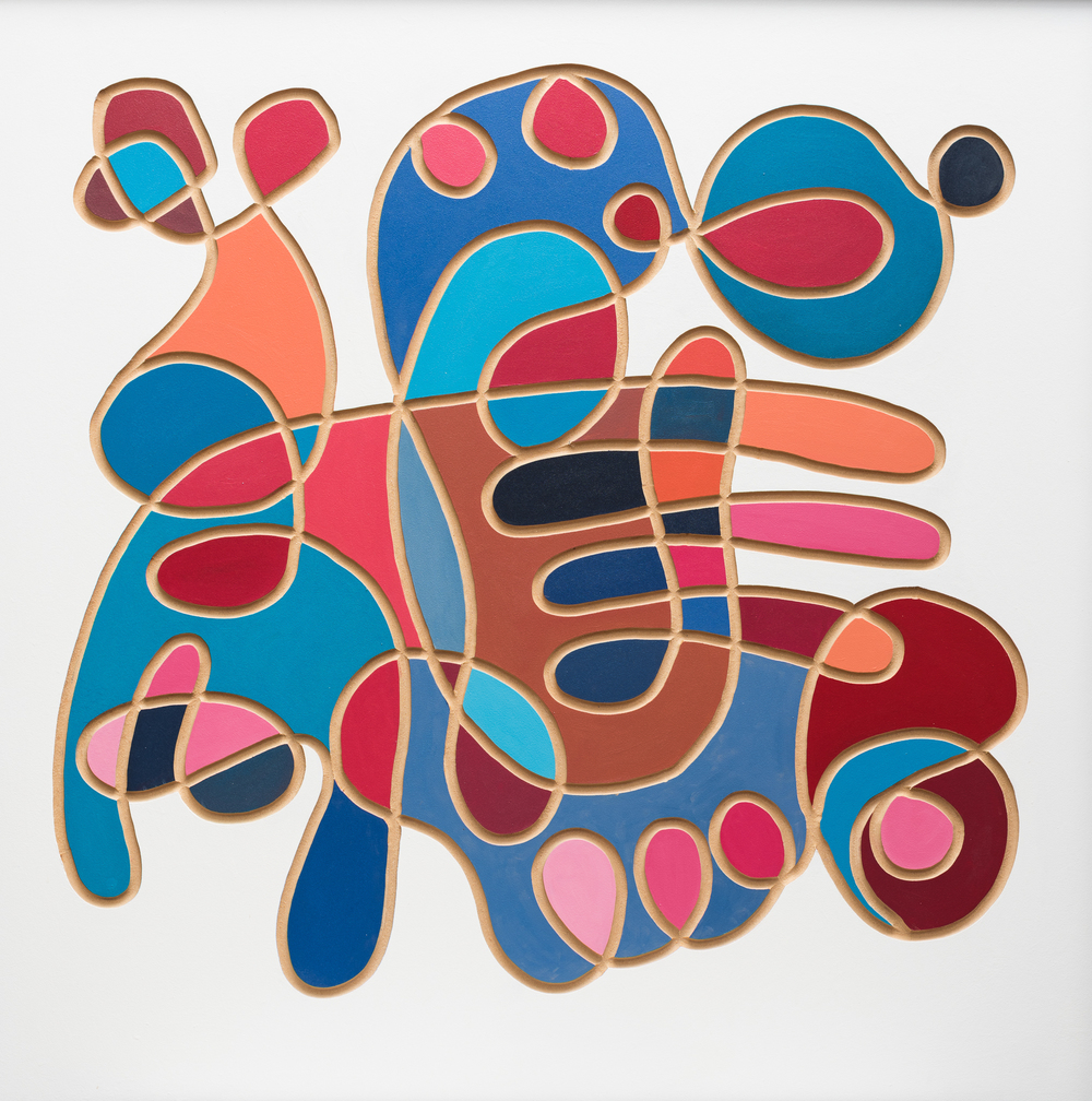 Lucid, enamel and carving on board, 120x120cm, SOLD