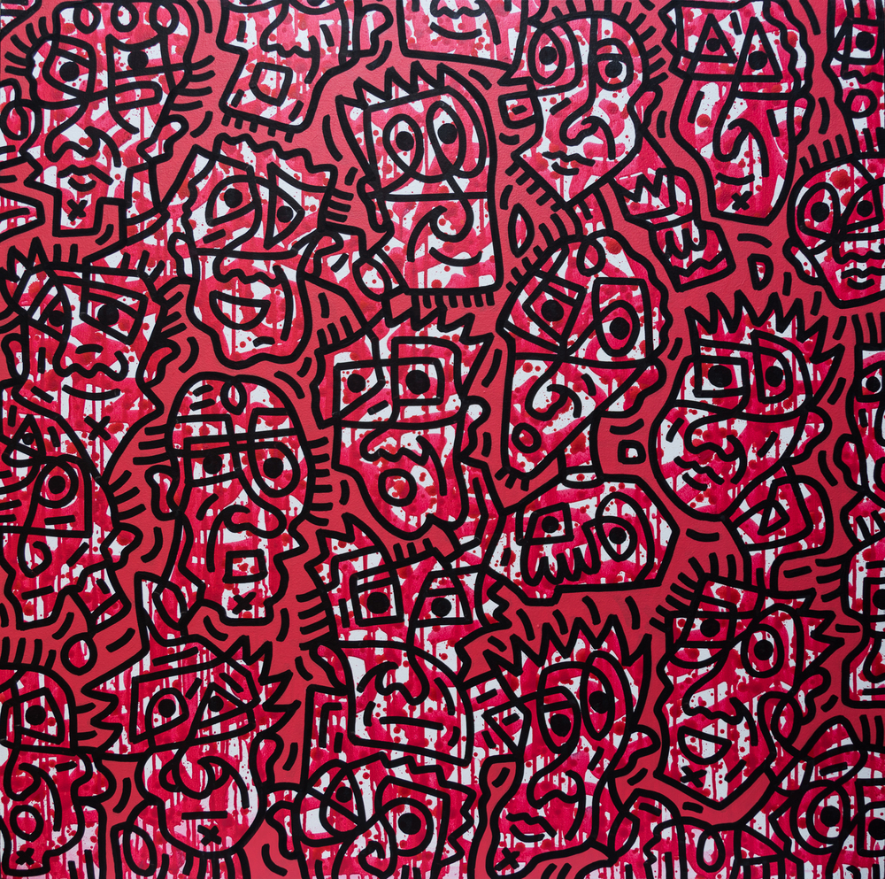 Red facial forms #1, enamel on canvas, 100x100cm, SOLD