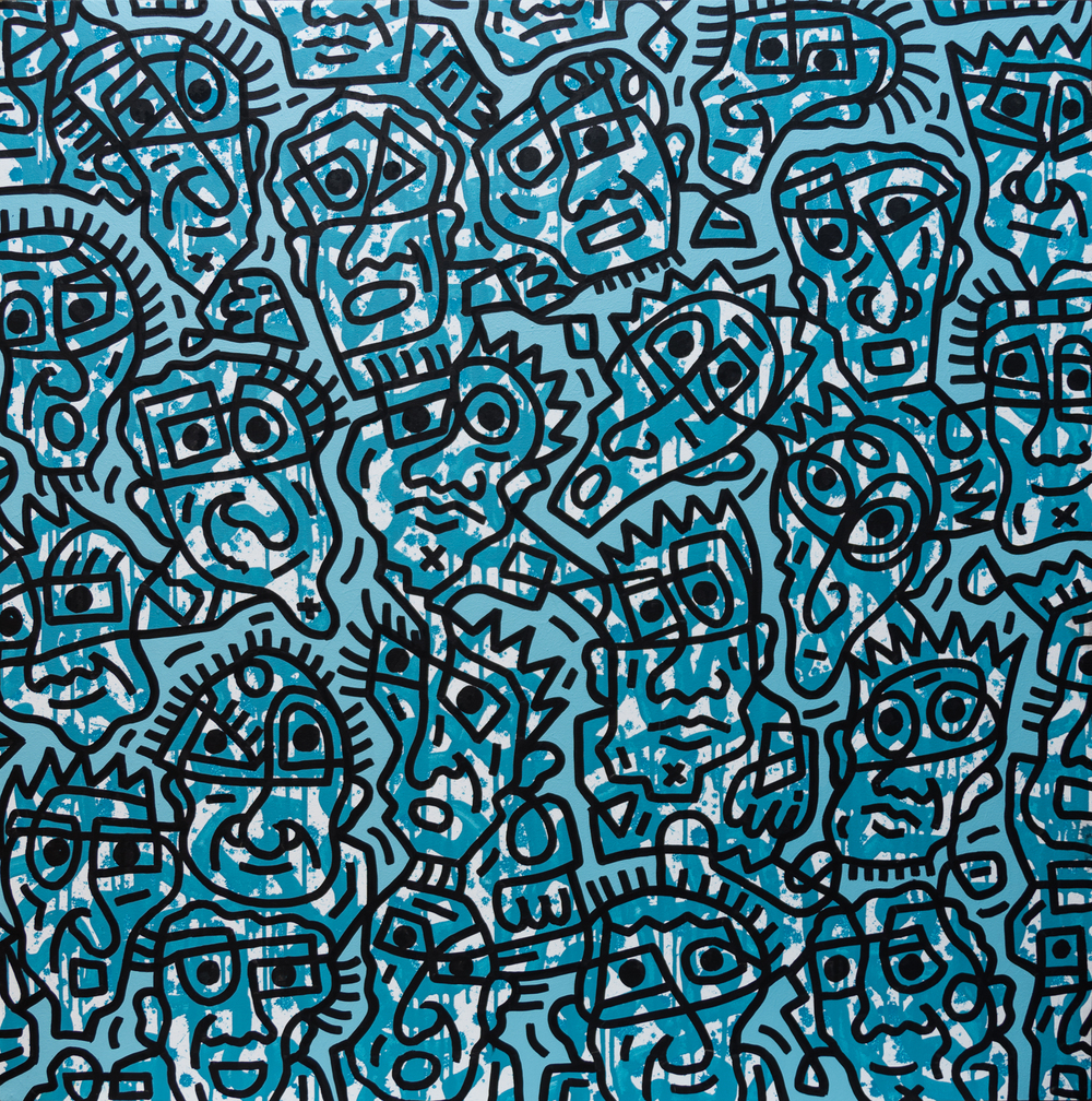 Blue Facial Forms #2, enamel on canvas, 100x100cm, SOLD
