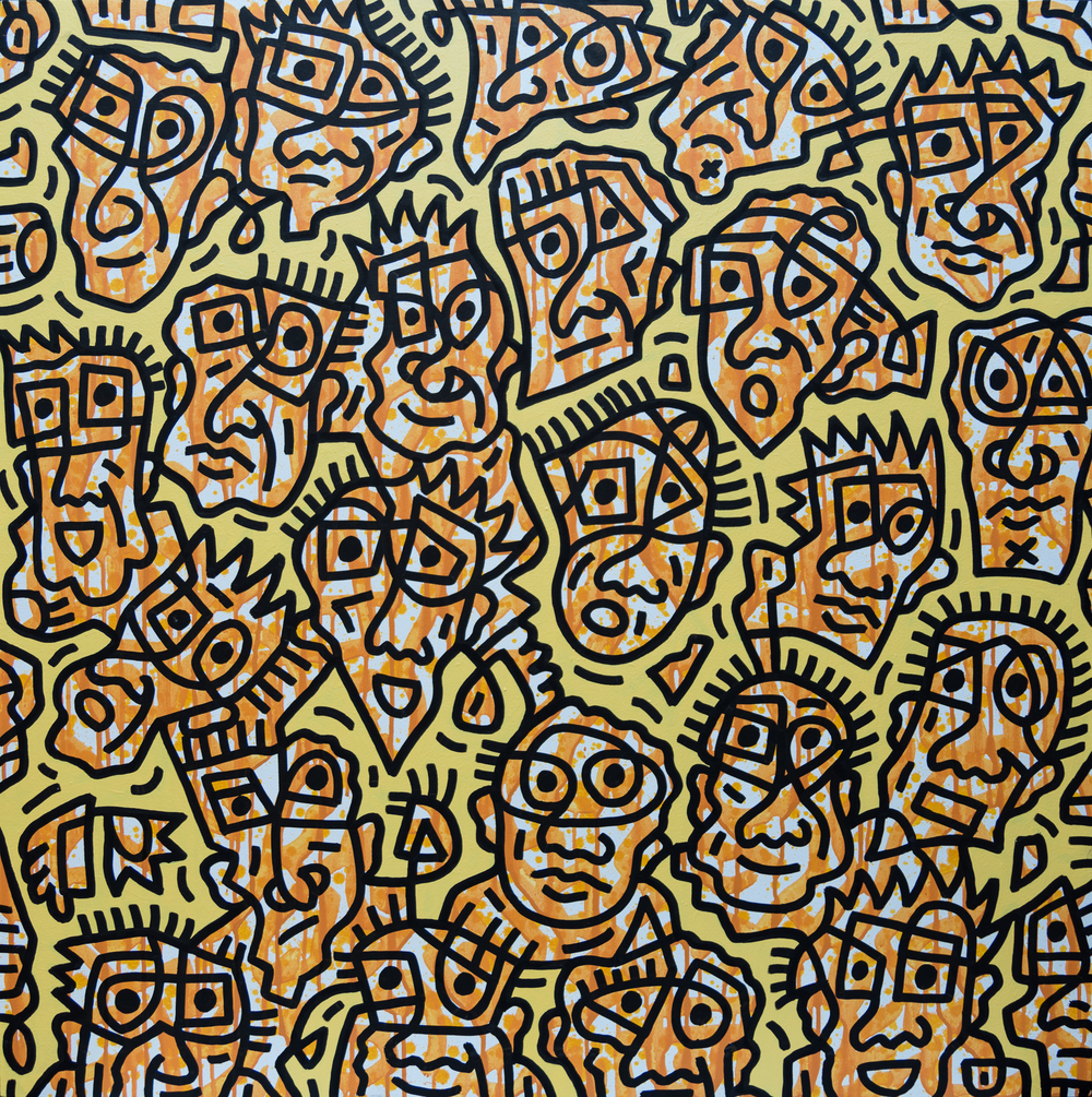Yellow Facial forms #2, enamel on canvas, 100x100cm, SOLD