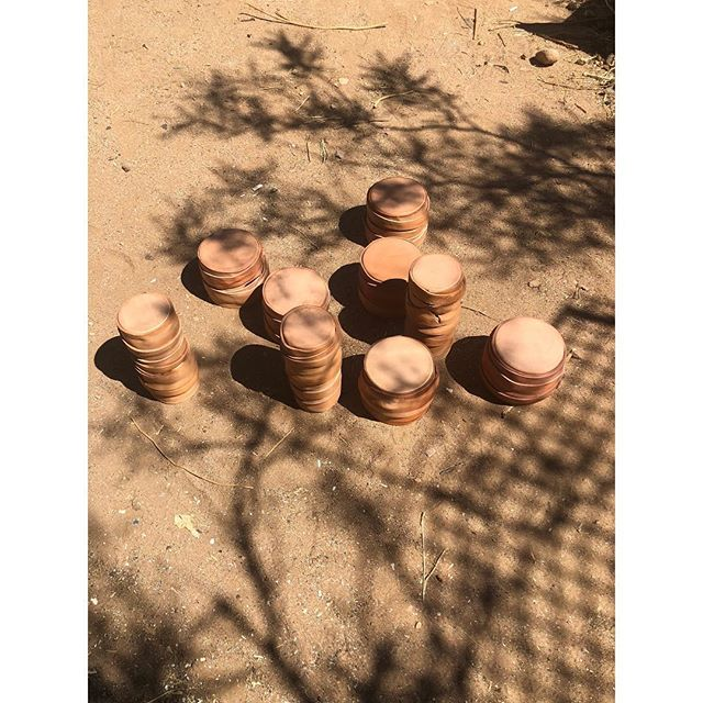 Fresh batch of cuir bouillie vases, sunbathing in the sun outside the studio and heading out in the the world soon. ☀️🌵🌎
