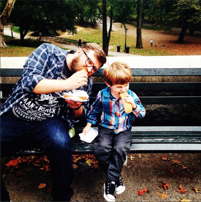 Hot dog guys outside Central Park.
