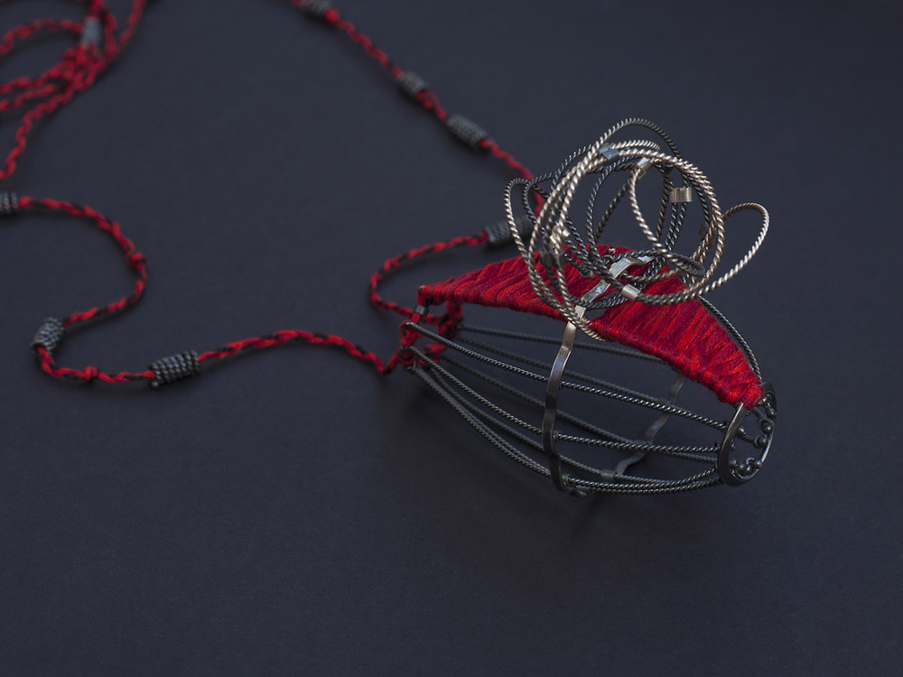 Gush Necklace 2012, silver (oxidised), cotton, polyester.