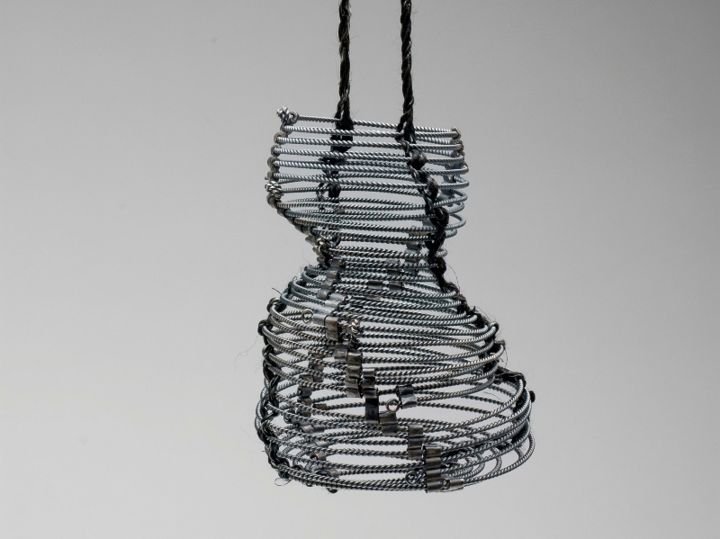 No One, pendant 2010, oxidised silver, dyed muka.