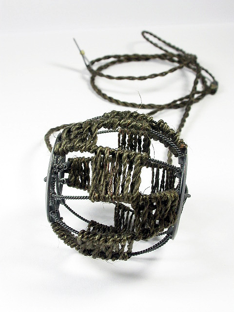 'Wheel Amulet' Necklace, Dyed muka, oxidised silver
