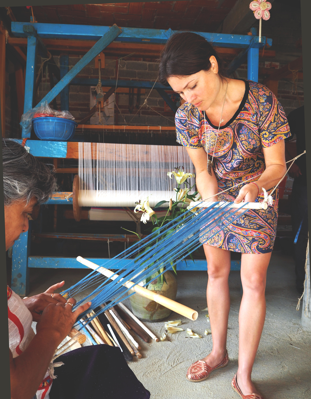 Warping the loom with indigo dyed cotton