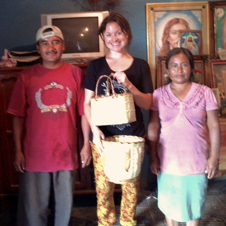 Mr and Mrs Benito Lopez and I, with baskets and gifted bag
