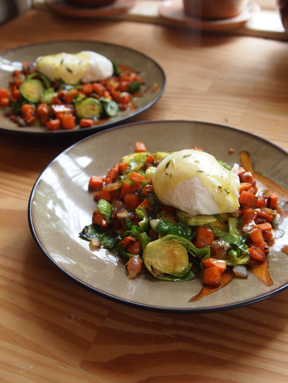 Sweet Potato Cakes With Curried Tomato Sauce And Poached Egg Recipe ...