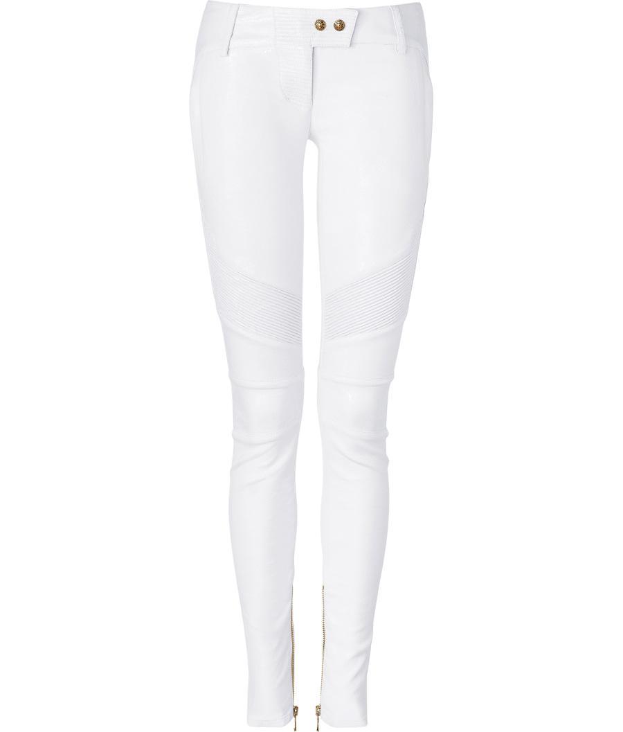 BALMAIN White skinny leather pants