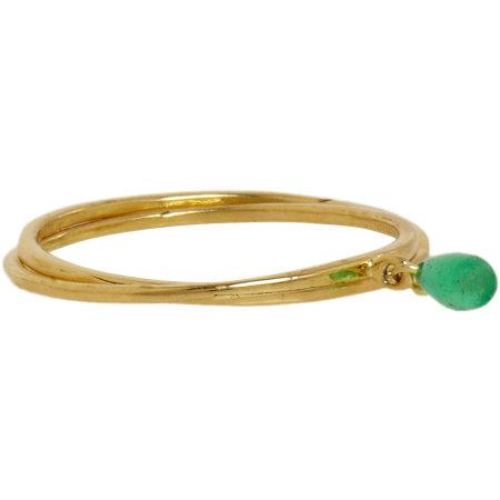Inez & Vinoodh Emerald & Gold Interlocked Rings $930