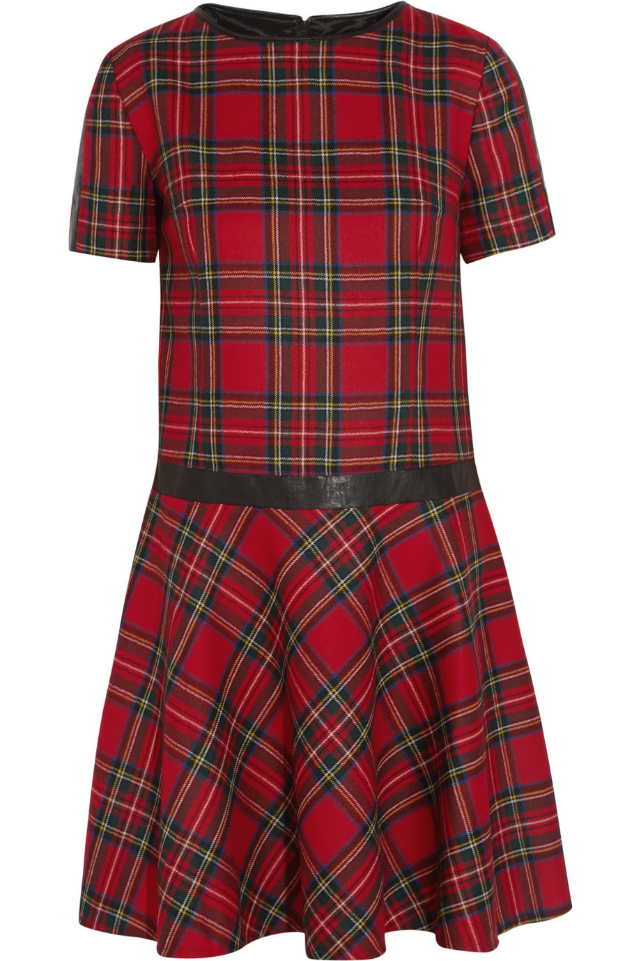 Play Video View full size image Karl Lagerfeld Penny faux leather-trimmed tartan wool dress