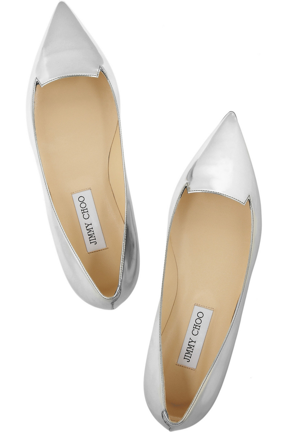 Jimmy Choo Attila mirrored-leather point-toe flats