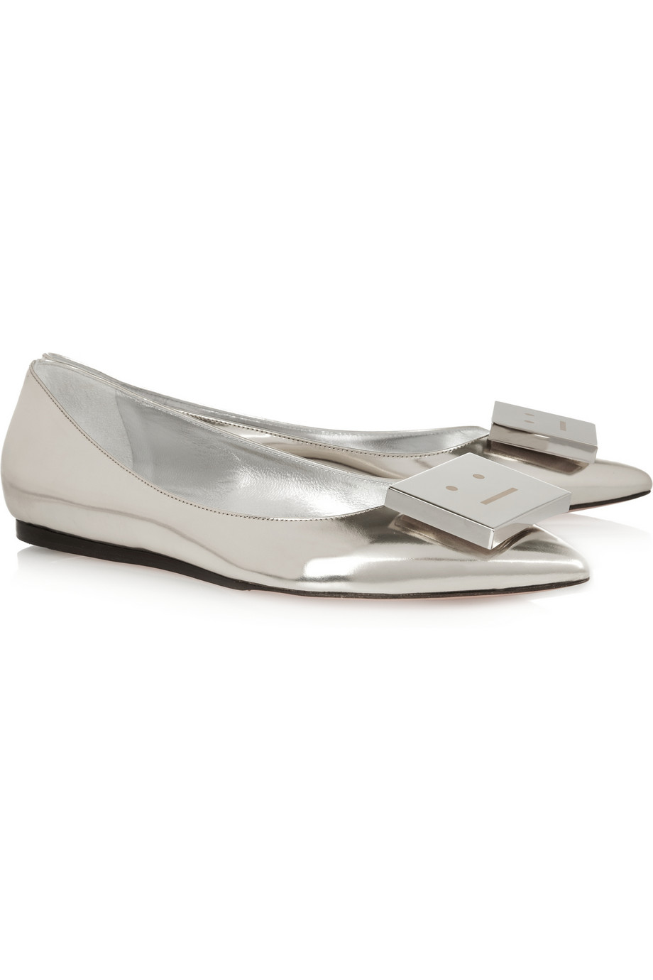 Acne Studios metallic leather point-toe flats