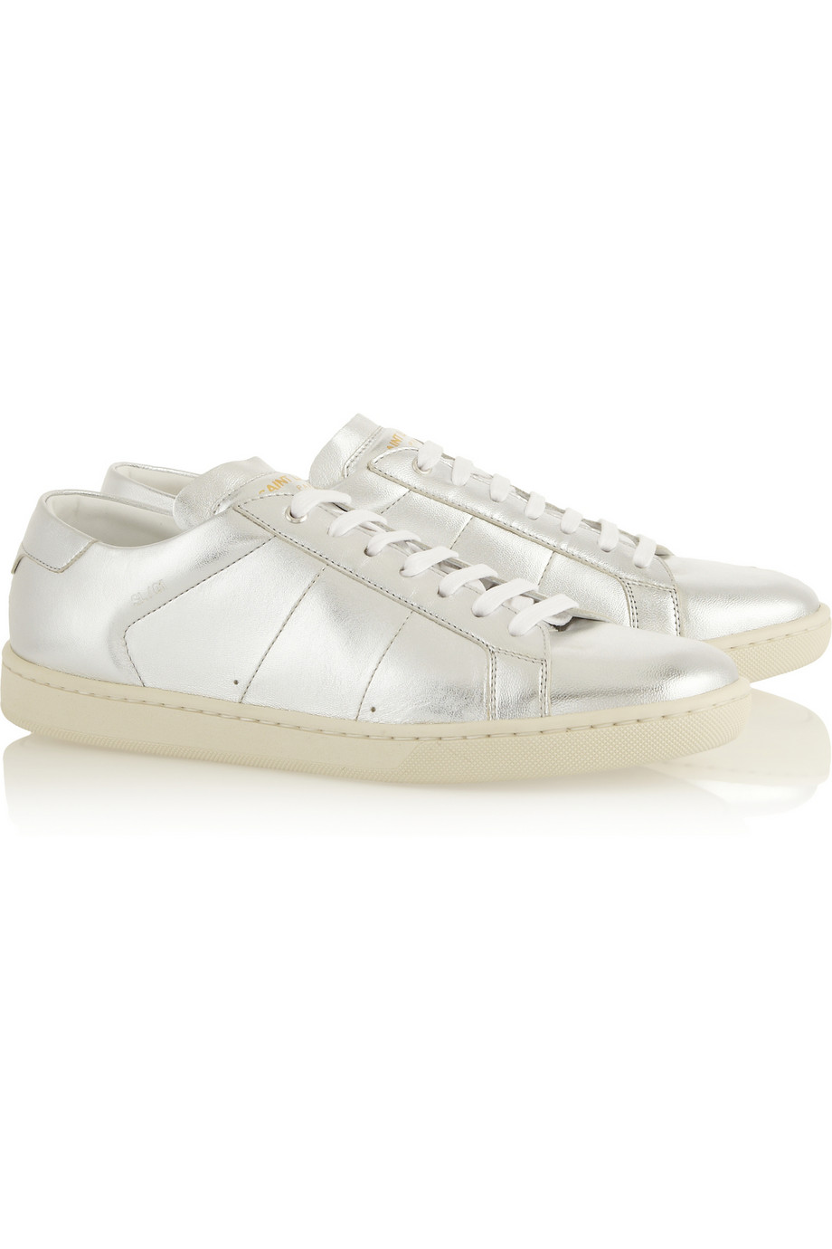 SAINT LAURENT Metallic leather sneakers