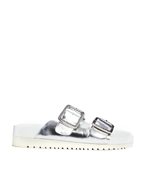 ASOS Senso Ida II Silver Chrome Footbed Flat Sandals