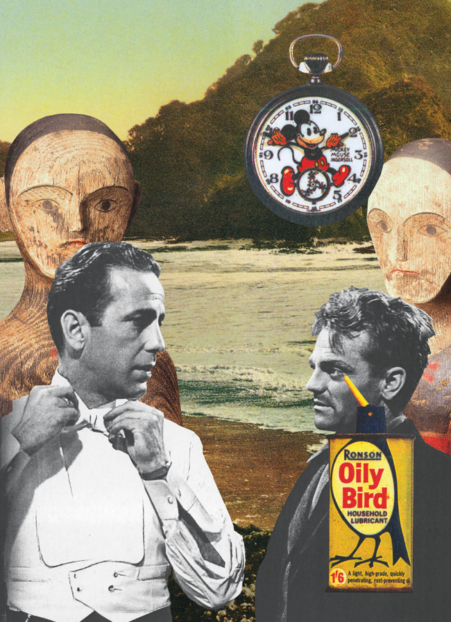 Gracia Haby & Louise Jennison, Mickey proved no Oily Bird but clever mouse and the scene it played as expected, at ten minutes to two, 2010, collage