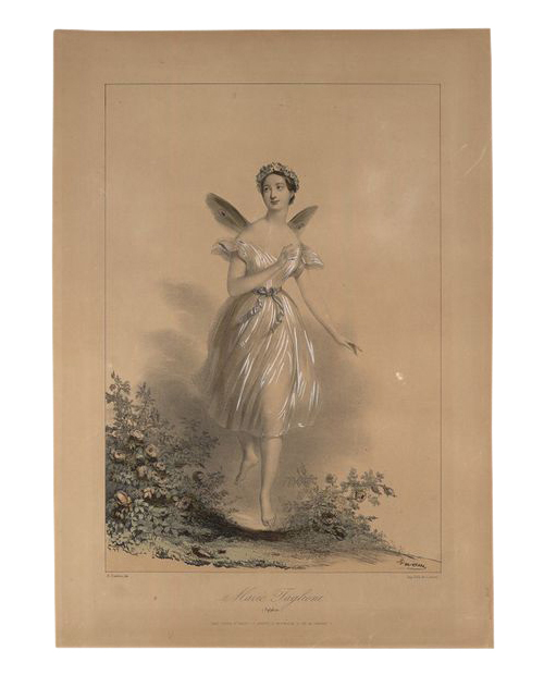 Marie Taglioni in  La Sylphide , lithographic print by Achille Jacques Jean Marie Devéria, printed by Cattier,  and published by Goupil & Vibert in the 1830s, from the V&A collection