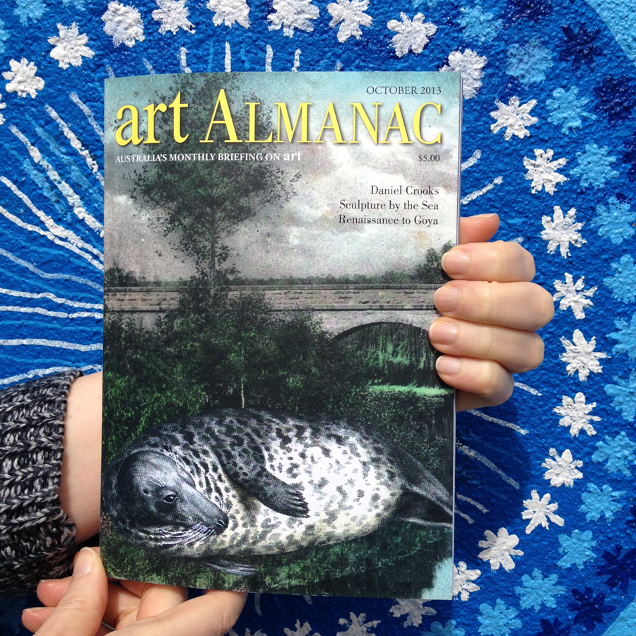 With a copy of October's Art Almanac in hand