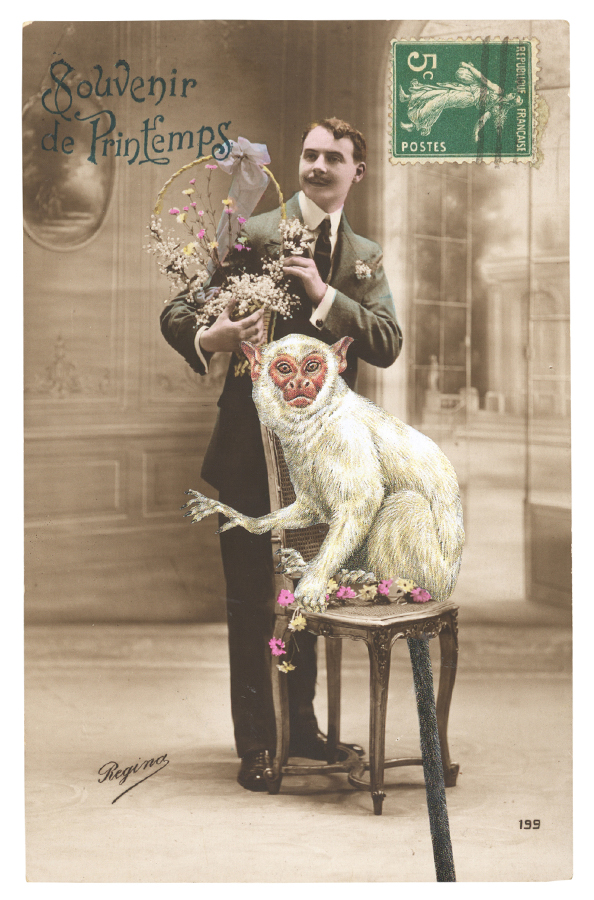Gracia Haby, Mr Breton sends spring wishes, 2012, postcard collage (and part of the Dear You series of imagined travels)