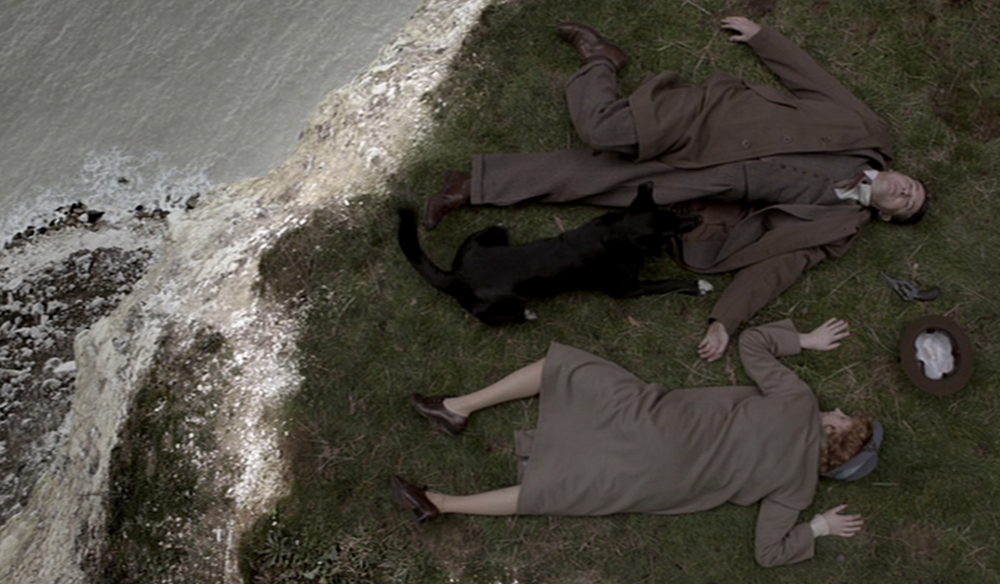 From A Catalogue of Bodies: General Ravenscroft and Lady Ravenscroft (believed to be), cause of death: murdered or part of a suicide pact with revolver on the rocks, time of death: 0.01 (Scene from Elephants Can Remember)