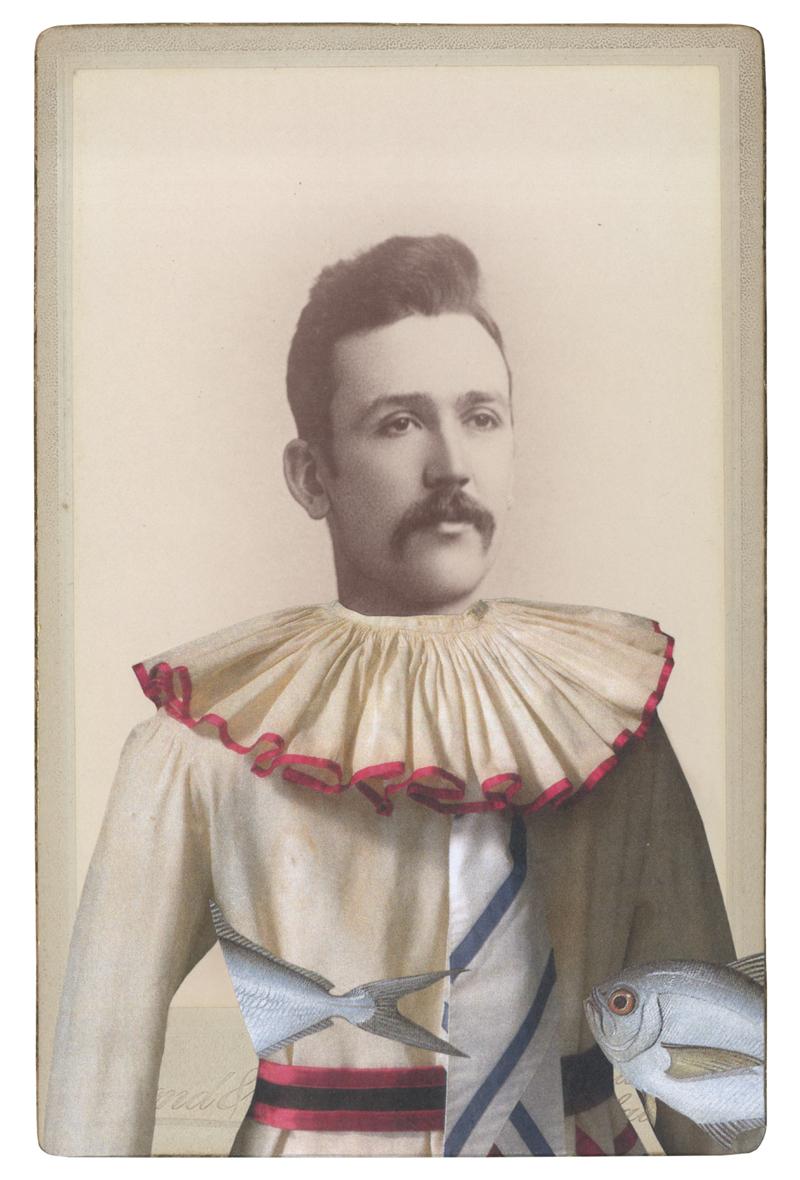 Gracia Haby,  In the borrowed costume of Petrouchka (c 1911) , 2014, collage on ephemera