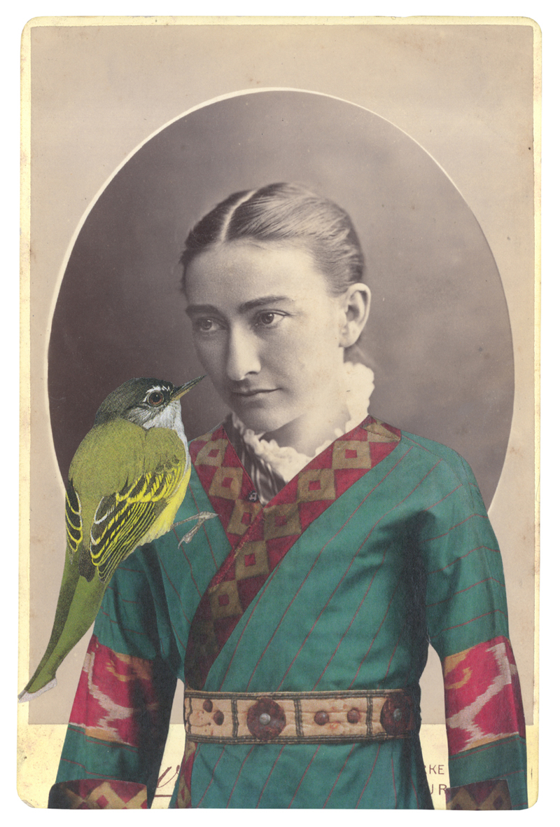 Gracia Haby, In the borrowed costume of a Polovtsian warrior (Prince Igor c 1909–37), 2014, collage on ephemera, exhibited as part of In Your Dreams, Counihan Gallery