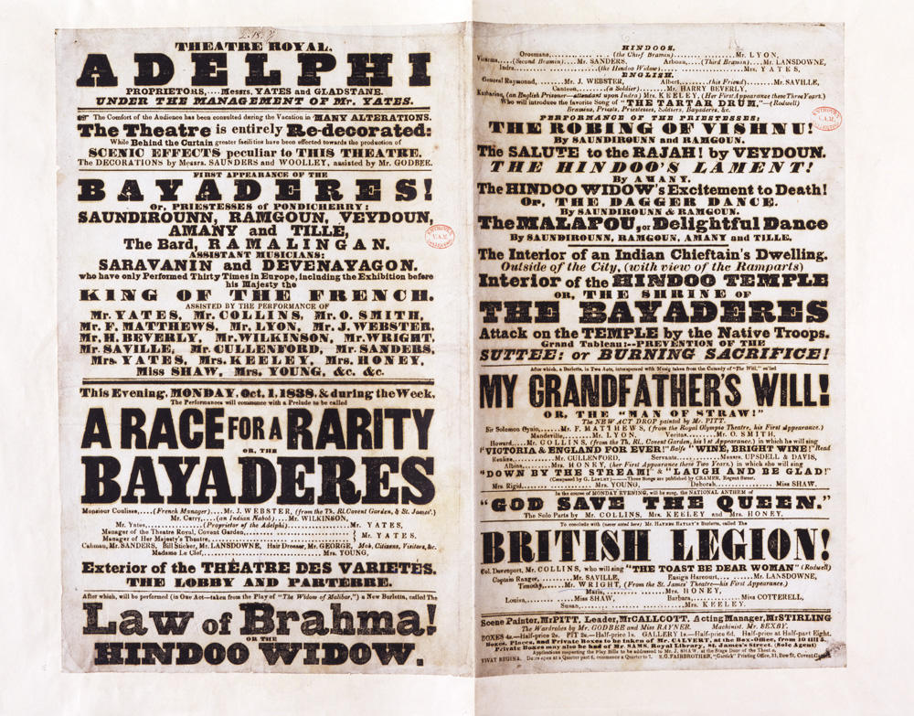 The Bayadères at the Adelphi, printed playbill, Adelphi Theatre London, England, October 1838 (Image source: V&A)