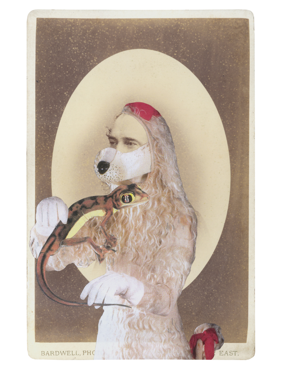Gracia Haby,  In the borrowed costume of the White Poodle, designed by André Derain, from the one act ballet La Boutique fantasque c.1919 , 2014, collage on cabinet card
