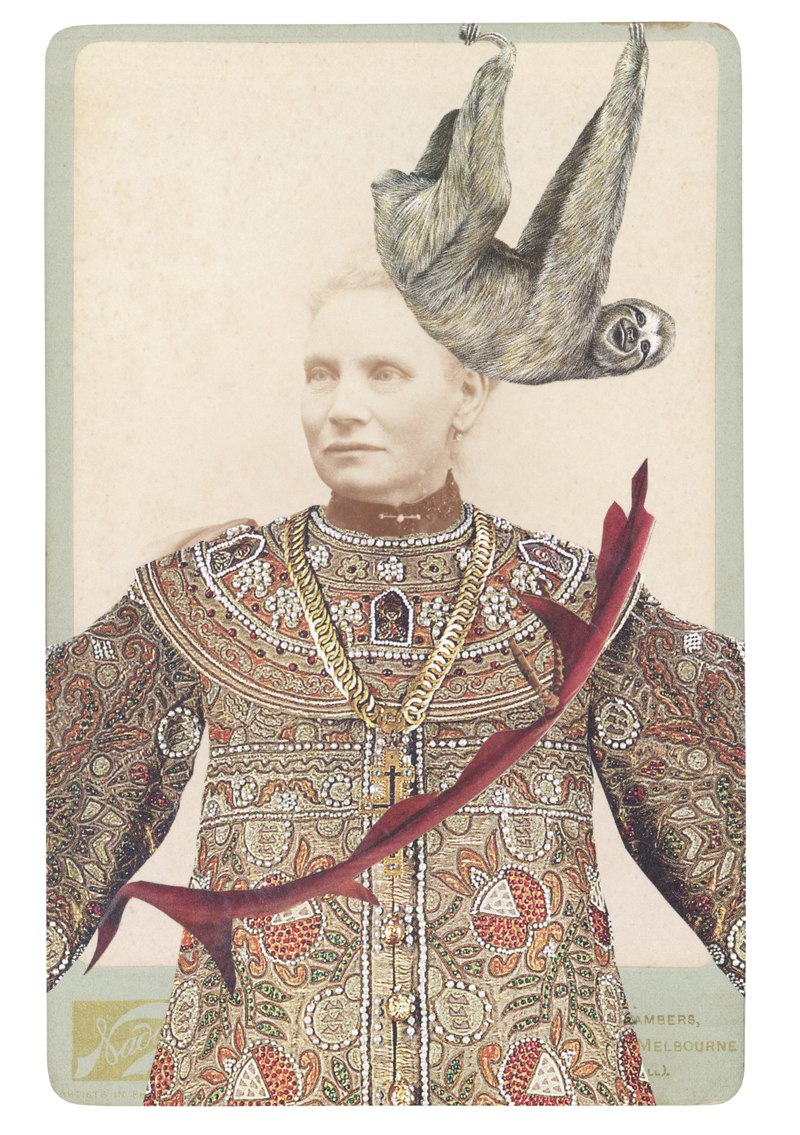 Gracia Haby, In the borrowed costume for a Coronation Scene from Boris Godunov for Diaghilev's Saison Russes, c. 1908, with a three-toed solth (Bradypus variegatus), 2014, collage on cabinet card