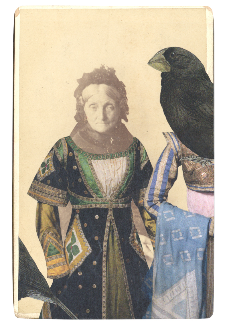 Gracia Haby, In the borrowed costume for a friend of Queen Thamar, designed by Léon Bakst, with a Large ground finch (Geospiza magnirostris) hovering in attendance, 2014, collage on cabinet card