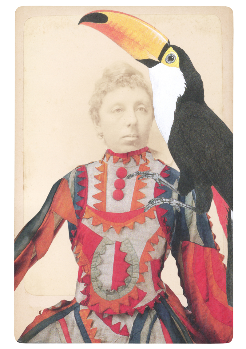 Gracia Haby, In the borrowed costume for the Buffoon's Wife from Chout, with cane-stiffened felt and cotton, c. 1921, and a Toco toucan (Ramphastos toco), 2014, collage on cabinet card