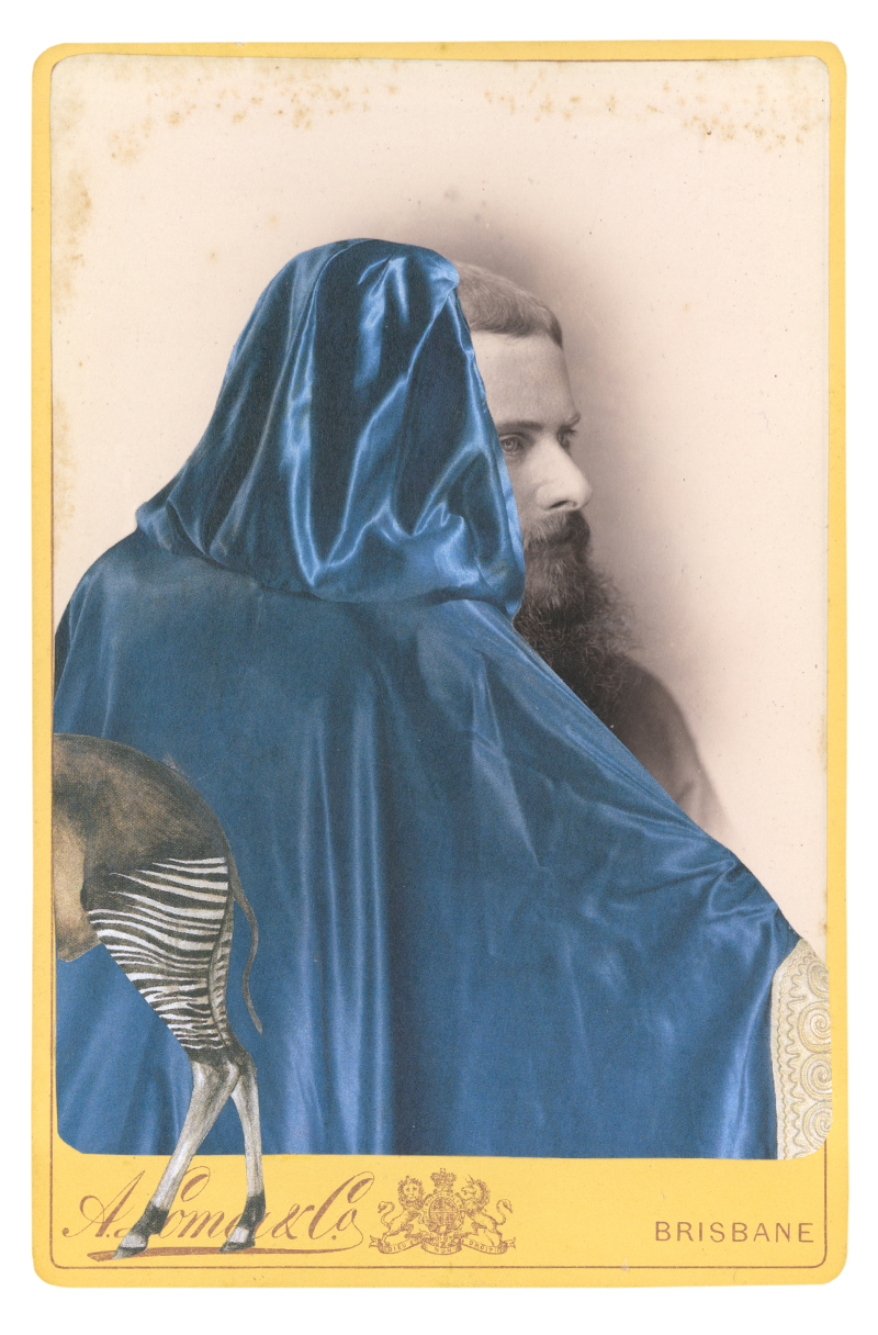 Gracia Haby, In a borrowed cape, designed by Léon Bakst from Papillions, circa 1914, 2015, collage on cabinet card