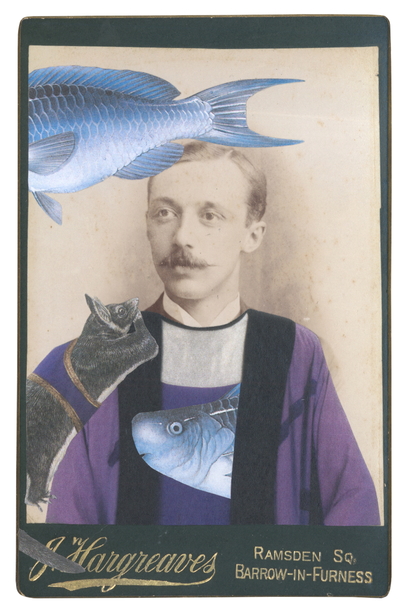 Gracia Haby, After David Hockney, in the borrowed costume for the Bonze from The Nightingale, 1982, with crêpe, lamé, a Greater glider (Petauroides volans) and a Blue parrotfish (Scarus coeruleus), 2015, collage on cabinet card (from the artists' book Salvaged Relatives, edition III)