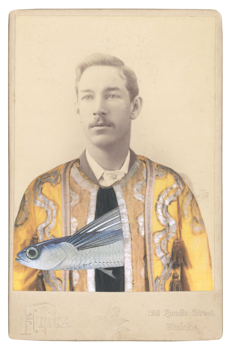 Gracia Haby, In the borrowed costume for a spirit of the hours from Le Pavillon d'Armide, c. 1909, designed by Alexandre Benois, with a Flying fish (Exocetus volitans), 2015, collage on cabinet card