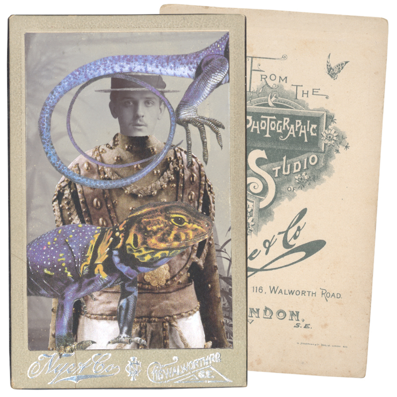 Gracia Haby,   In the borrowed costume for a Little God from Le Dieu bleu, after Léon Bakst, 1912, with an Eastern collared lizard (Crotaphytus collaris)  , 2015, collage on carte de visite