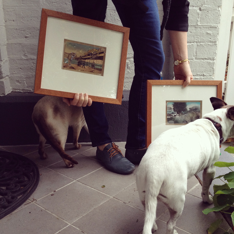 Two postcard collages, Standing mutely by and Losing feet, losing way, framed (and flanked by Lenni and Percy)