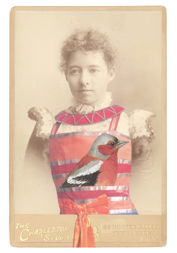NEW PORTRAIT GREETING CARD   In the borrowed costume for a slave or dancing girl,  designed by Sonia Delaunay, 1918, with a Chaffinch (Fringilla coelebes)