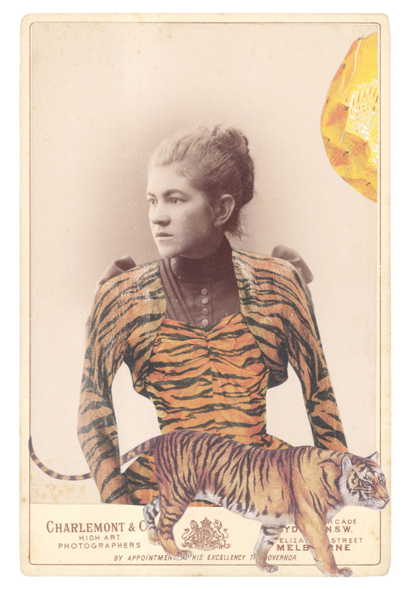 NEW PORTRAIT GREETING CARD   In a borrowed costume of a Tigress, designed by Gilbert Adrian, 1949,  accompanied by a tiger (Panthera tigris)