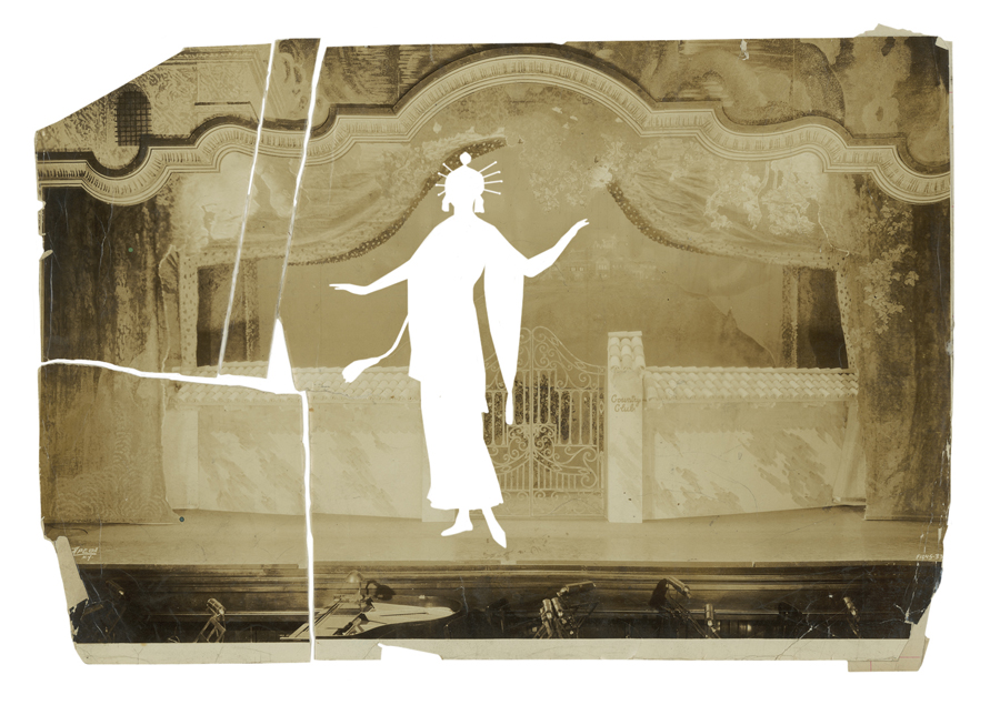 Costume design, replete with orange sash, silver trims, and light green fan, by Attilio Comelli for act two from the musical  The Girl From Utah , c.1913, upon a photograph of the stage set for the musical comedy  Follow Through , 1930 or 1932