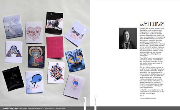 Twelve artists cards for the Cosmos Issue, Blanket magazine, Issue 22, 2010