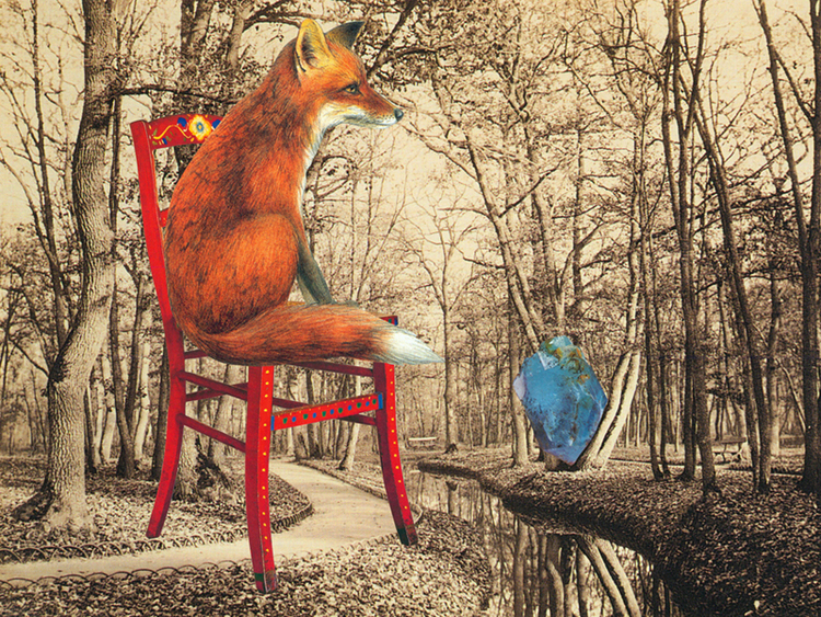 Gracia Haby & Louise Jenniosn, Seated atop Kandinsky's chair, the unexpected could be sighted with ease, 2010, collage